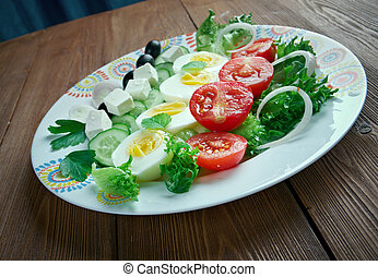 salade composee du soleil - Mediterranean salad.French...