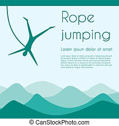 Rope jumping. Bungee jumping. Extreme sports. Silhouette...