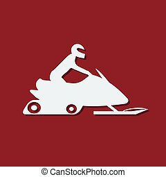 Snowmobile with driver. Extreme sports icon. Vector...