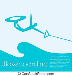 Wakeboarding. Extreme sports. Silhouette person jumping on...
