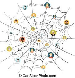 People stuck in complicated spider web, illustration...