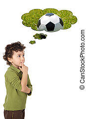 adorable boy thinking - photo of an adorable boy thinking a...