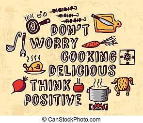 Cooking poster positive thing and objects color