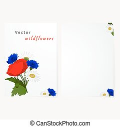 Template card with flowers chamomile, cornflowers and red...