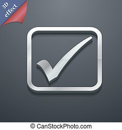 A check mark icon symbol. 3D style. Trendy, modern design with space for your text Vector