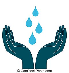 Blue water drops in human hands, conceptual ecologic vector...