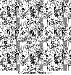 Group street musicians and birds seamless monochrome pattern...