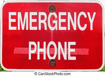 Emergency phone sign post signpost - Emergency phone call...