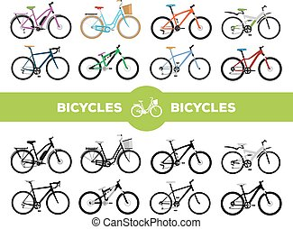 Bicycles - Set of various sport, city and electric bicycles