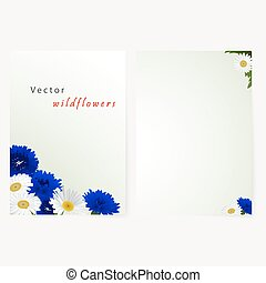 Template card with flowers camomile and cornflowers -...