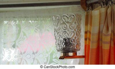 Old style lamp on and off - Old style lamp in room on and...