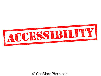 ACCESSIBILITY red Rubber Stamp over a white background