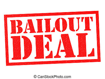 BAILOUT DEAL red Rubber Stamp over a white background
