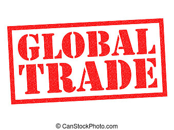 GLOBAL TRADE red Rubber Stamp over a white background