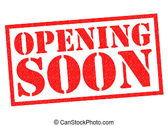 OPENING SOON red Rubber Stamp over a white background.