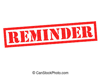 REMINDER red Rubber Stamp over a white background