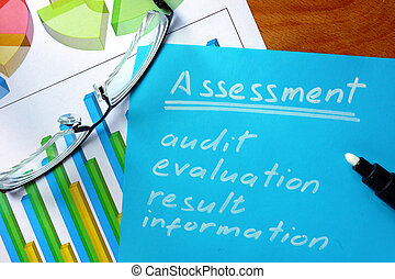 assessment - Blue paper with words assessment and glasses.