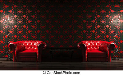 Two red leather armchairs,table 3d render - Two red leather...