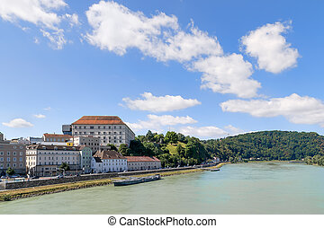 View Linz Danube - Image with view to the river Danube in...