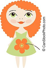 Vector Pretty girl - Vector cute red-haired girl with flower...