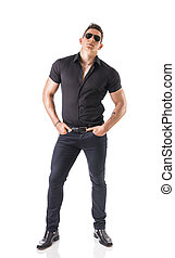 Young muscular man wearing black stylish shirt - Full length...