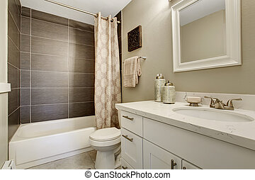 Simplistic bathroom wth grey and white theme. - Simplistic...