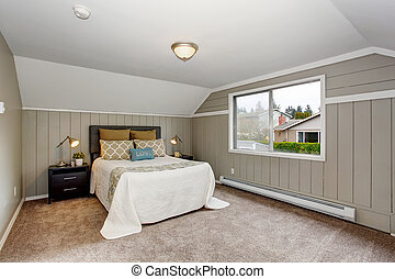 Perfect bedroom with gry walls and white bedding.