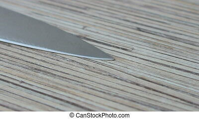 kitchen knife on the kitchen table, closeup