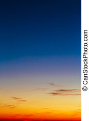 Orange, Yellow Blue Sunrise Sky With Sunlight Sunset Background