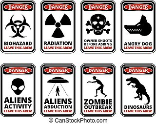 Danger sig - Vector warning humorous signs with sci-fi and...