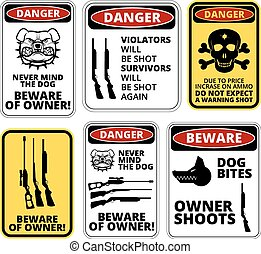 Owner shoots - humorous comic danger sign Vector EPS8