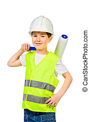 occupation - A boy in a costume of a builder posing with...