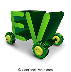 Electric Vehicle - Electric vehicle concept and EV symbol as...