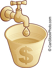 Making dollars vector - Golden tap dripping cents in a...