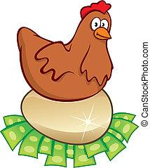 Money hatching chicken vector - Hen sitting on golden egg...