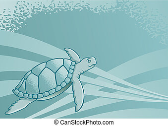 Sea turtle vector - Sea turtle background for page layout or...