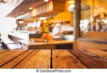 butik, kaffe, avbild, suddig,  bokeh, bakgrund, fläck