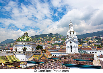 Quito Church and Hills - View from the roof of the cathedral...