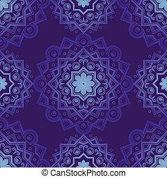 Blue Indian Vintage Ornament. Blue mandala Seamless pattern. Vector illustration .