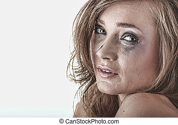 Woman in underwear crying - violence concept - Emotional...