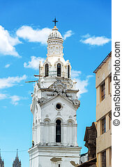 White Church Spire - White spire of a church in the colonial...