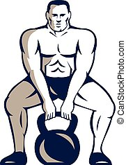 Athlete Weightlifter Lifting Kettlebell Retro