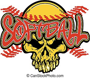 softball skull design with red stitches