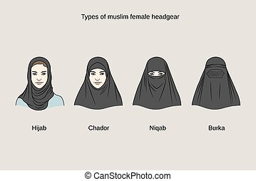 headgear - Muslim female headgear. Traditional hijab...