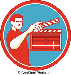 Film Crew Clapperboard Circle Retro - Illustration of a film...