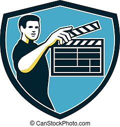 Film Crew Clapperboard Shield Retro