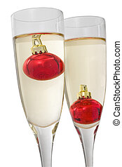 Christmas Champagne - Two champagne glasses with small red...