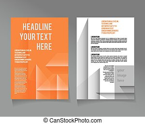 Vector  brochure template design with cubes and arrows elements.