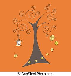 Autumn tree with falling leaves and old lamp, vector illustratio