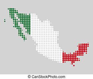 mapa, bandera,  México